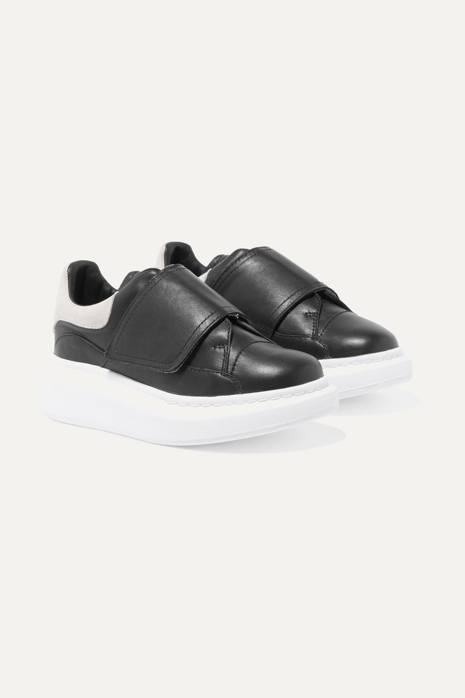 Alexander McQueen Kids Suede-trimmed leather exaggerated sole sneakers