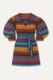 House of Holland Belted striped woven mini dress