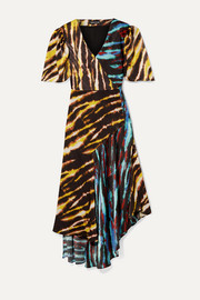 House of Holland Asymmetric paneled tie-dyed satin midi dress