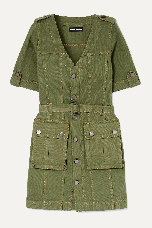 House of Holland Belted denim mini dress