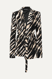 House of Holland Belted zebra-print cotton-canvas blazer