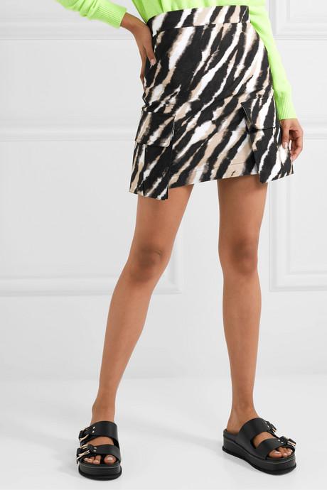 Zebra-print cotton-canvas mini skirt