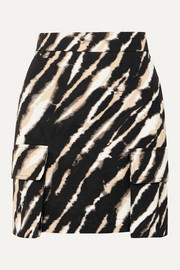 House of Holland Zebra-print cotton-canvas mini skirt