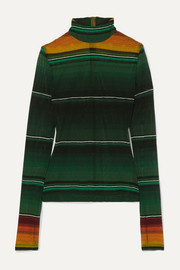 House of Holland Striped stretch-mesh turtleneck top