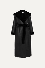 The Row Riona hooded belted shearling coat
