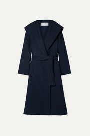 The Row Riona oversized hooded belted cotton and wool-blend coat
