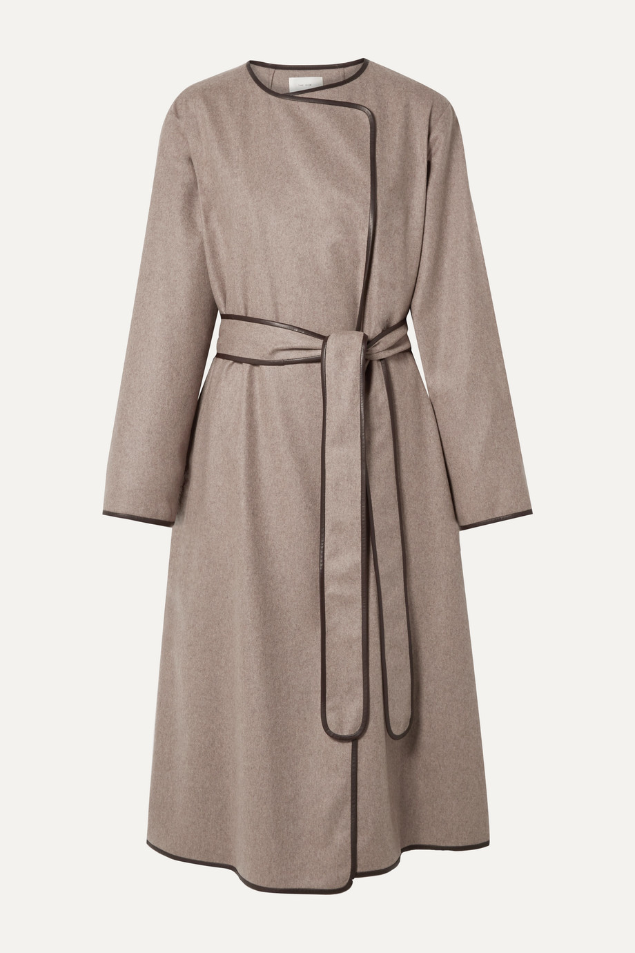 The Row Helga leather-trimmed cashmere coat