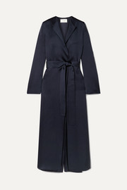 The Row Madie belted silk-satin coat