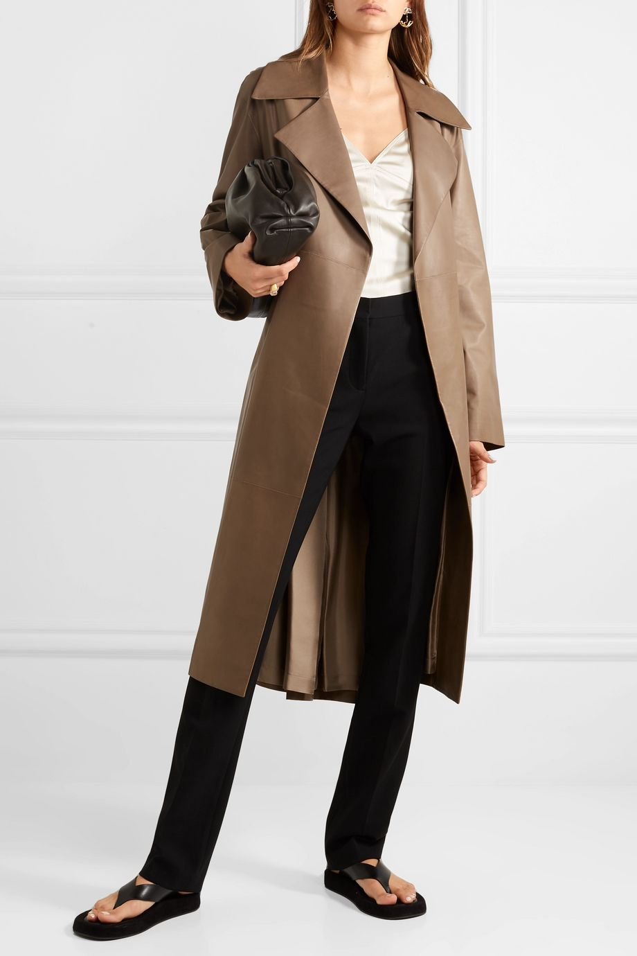 The Row Efo belted leather trench coat