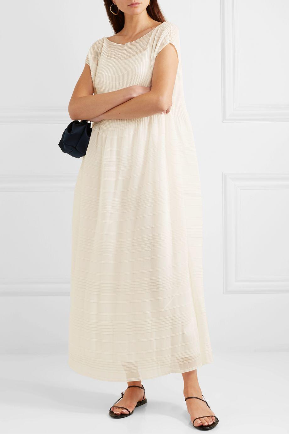 The Row Prado plissé-georgette maxi dress