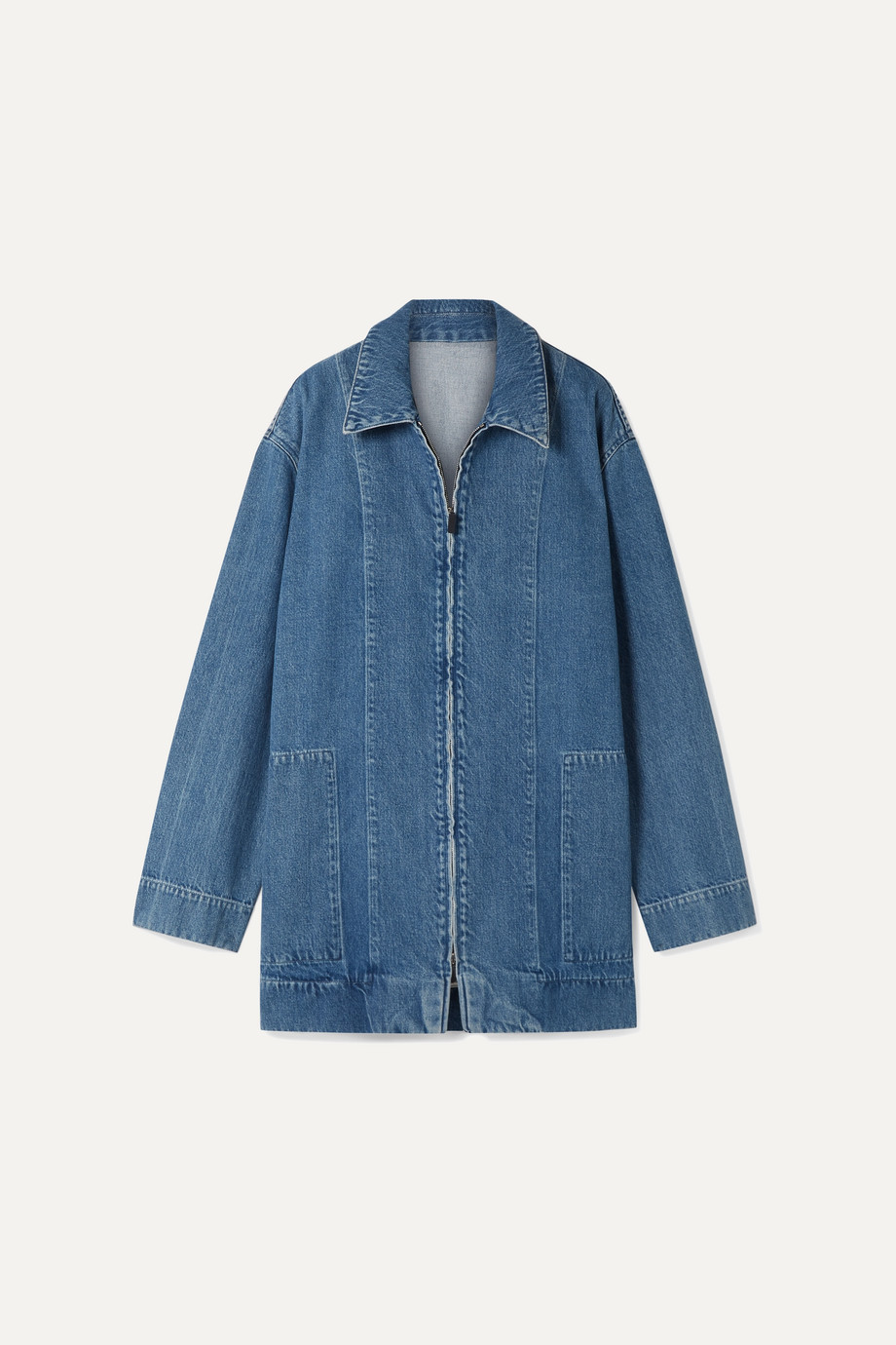 Exact Product: Hermia Oversized Denim Jacket, Brand: The Row, Available on: net-a-porter.com, Price: $920