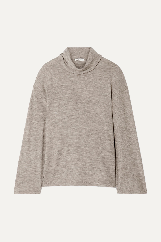 The Row Zalani oversized mélange stretch-cashmere turtlneck sweater