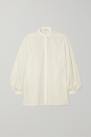The Row Vara laser-cut cotton-blend blouse