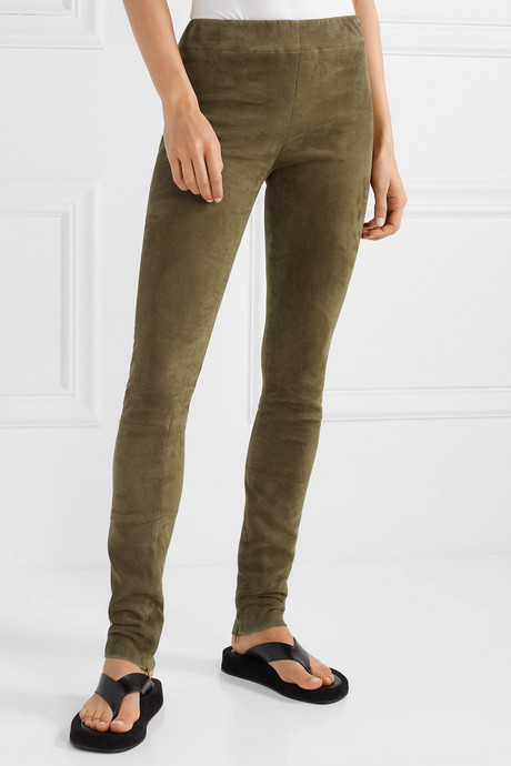 Tomo paneled stretch-suede skinny pants