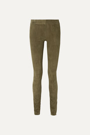 The Row Tomo paneled stretch-suede skinny pants