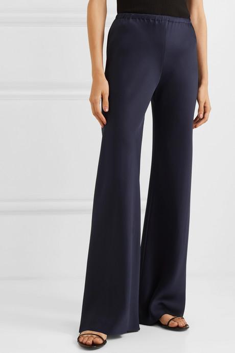 Gala silk-satin wide-leg pants
