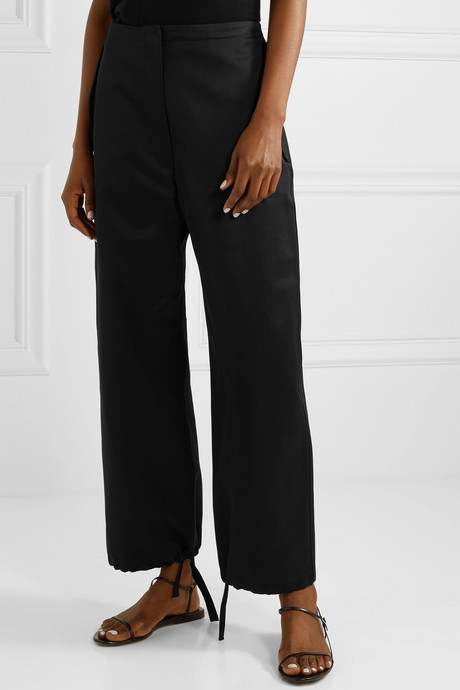 Attie cotton-sateen straight-leg pants