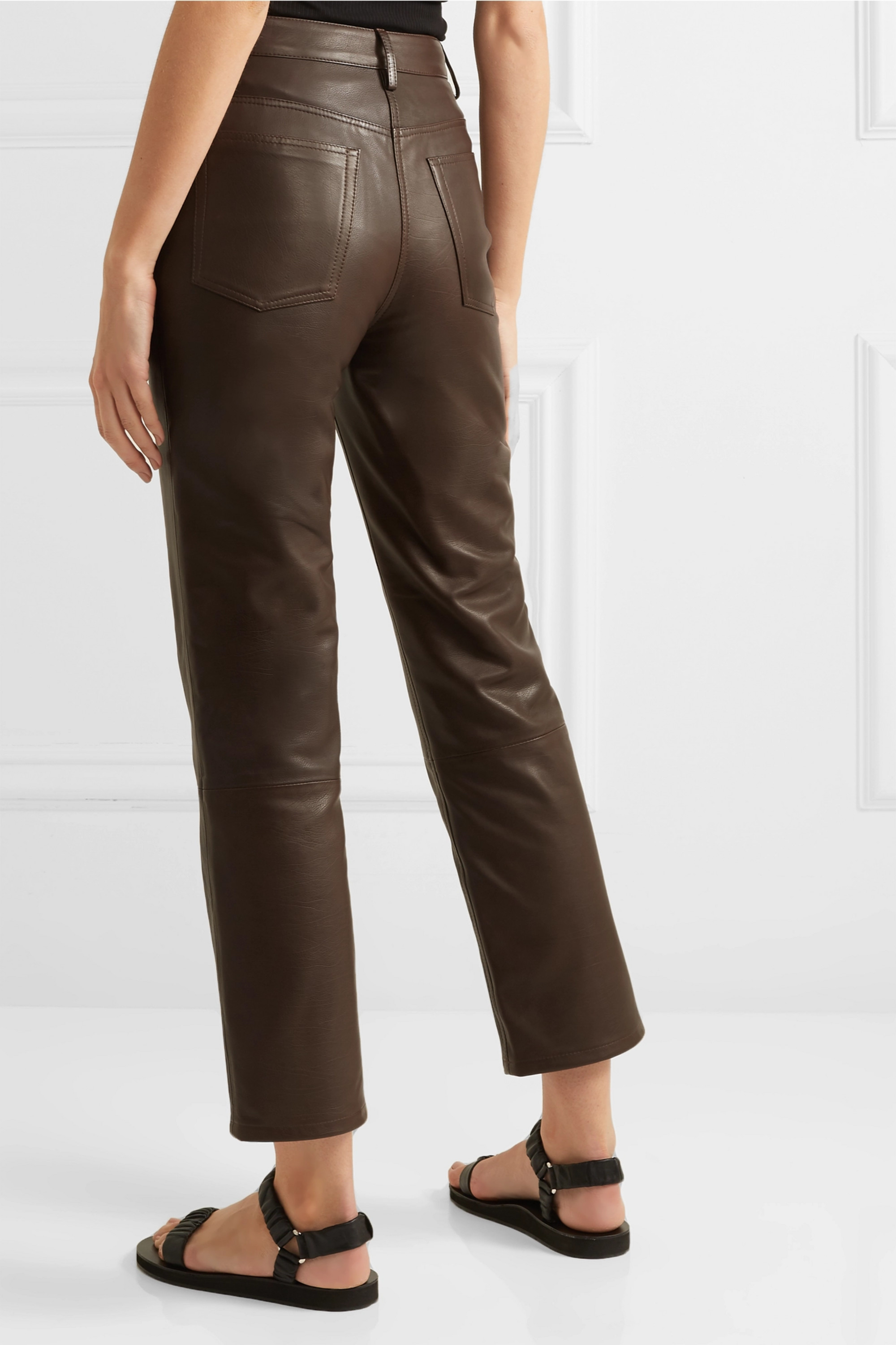 The Row Charlee leather straight-leg pants