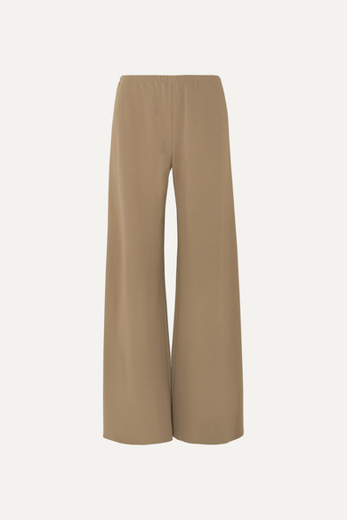 The Row Gala Stretch-Cady Wide-Leg Pants In Army Green