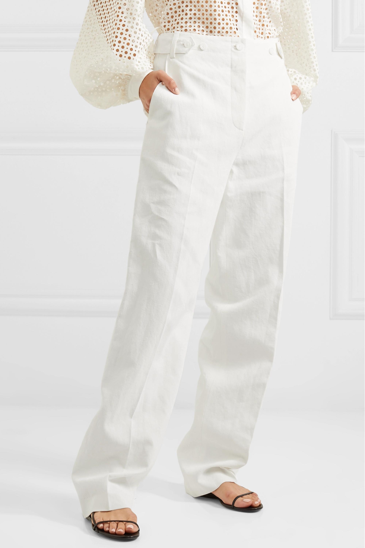 The Row Matea pleated linen-blend wide-leg pants