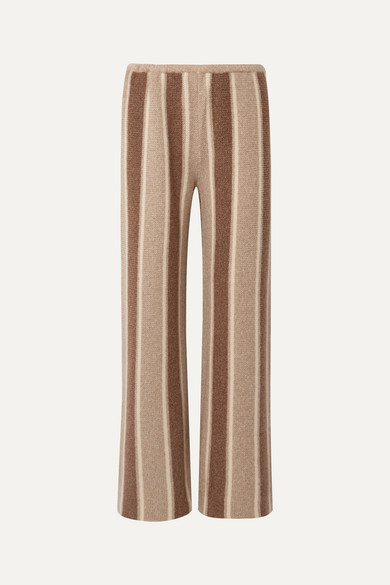 The Row Culotta Cashmere And Silk-Blend Wide-Leg Pants In Brown