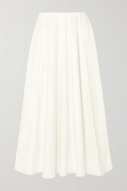 The Row Mara laser-cut cotton-blend midi skirt