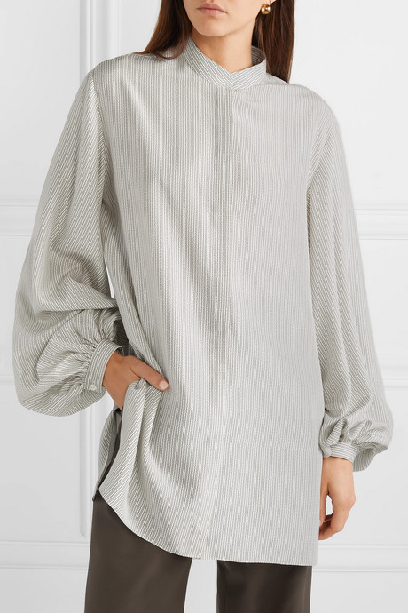 Vara oversized printed silk crepe de chine shirt