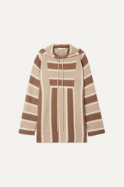 The Row Lina oversized striped cashmere and silk-blend hoodie