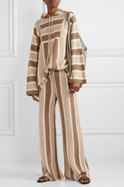 Lina oversized striped cashmere and silk-blend hoodie