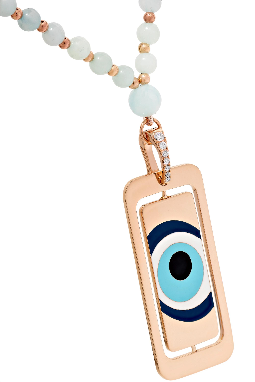 Diane Kordas Evil Eye 18-karat rose gold, aquamarine and diamond necklace