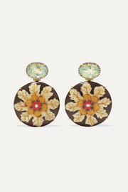 Marquetry 18-karat gold, wood, diamond and prasiolite earrings