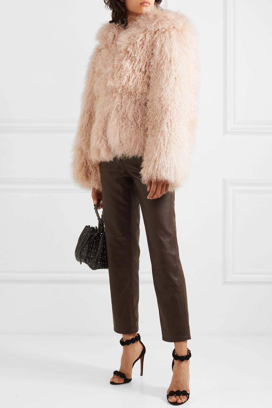 Alaïa Manteau à capuche oversize en peau lainée