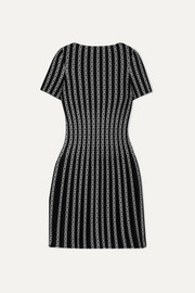 Alaïa Pleated jacquard-knit mini dress