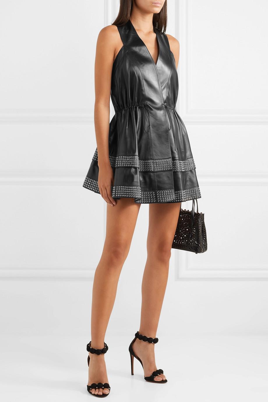 Alaïa Eyelet-embellished leather mini dress