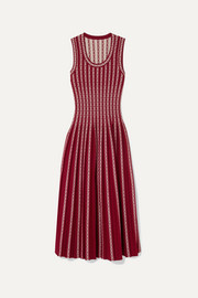 Alaïa Pleated jacquard-knit midi dress