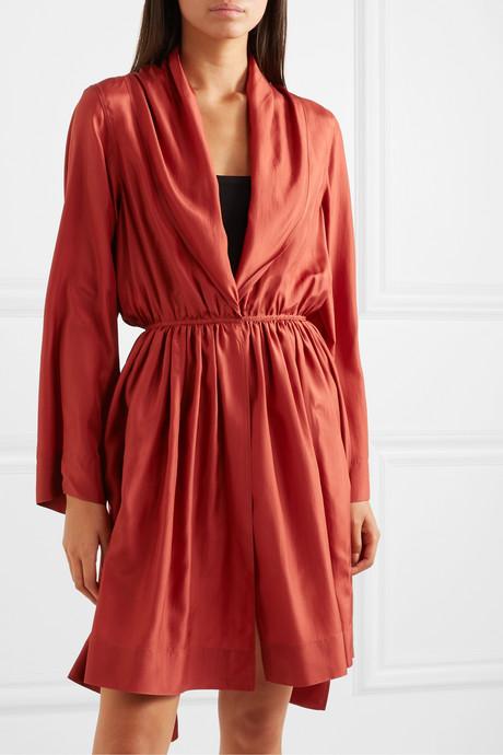 Gathered silk-taffeta mini dress