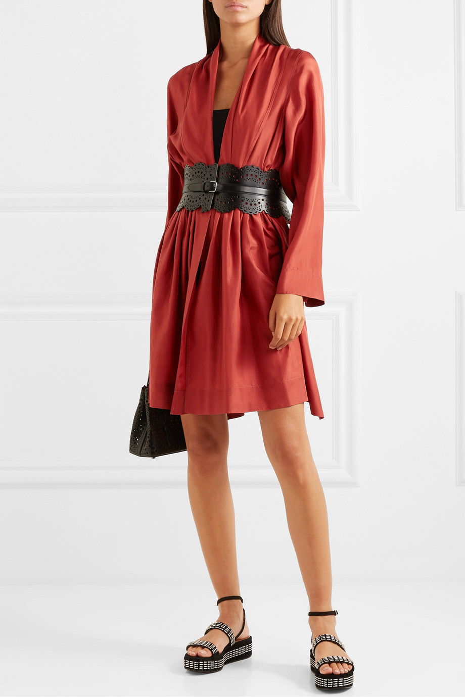 Alaïa Gathered silk-taffeta mini dress