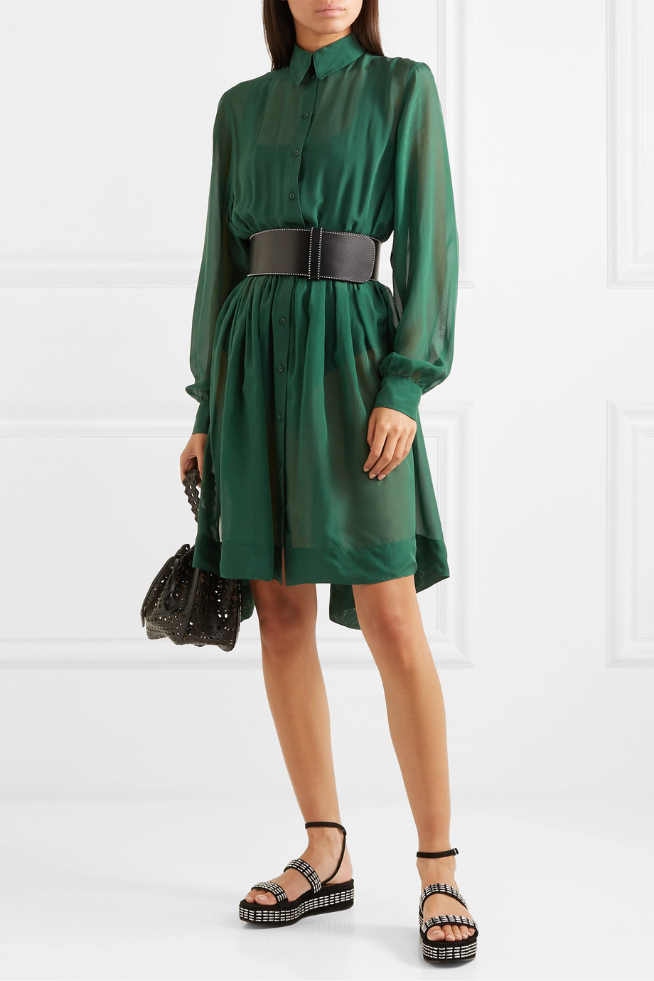 Alaïa Pleated silk-chiffon mini dress