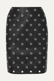 Alaïa Eyelet-embellished leather mini skirt