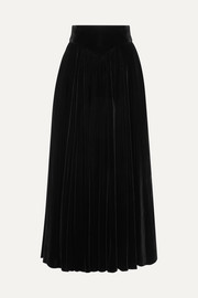 Alaïa Pleated velvet maxi skirt
