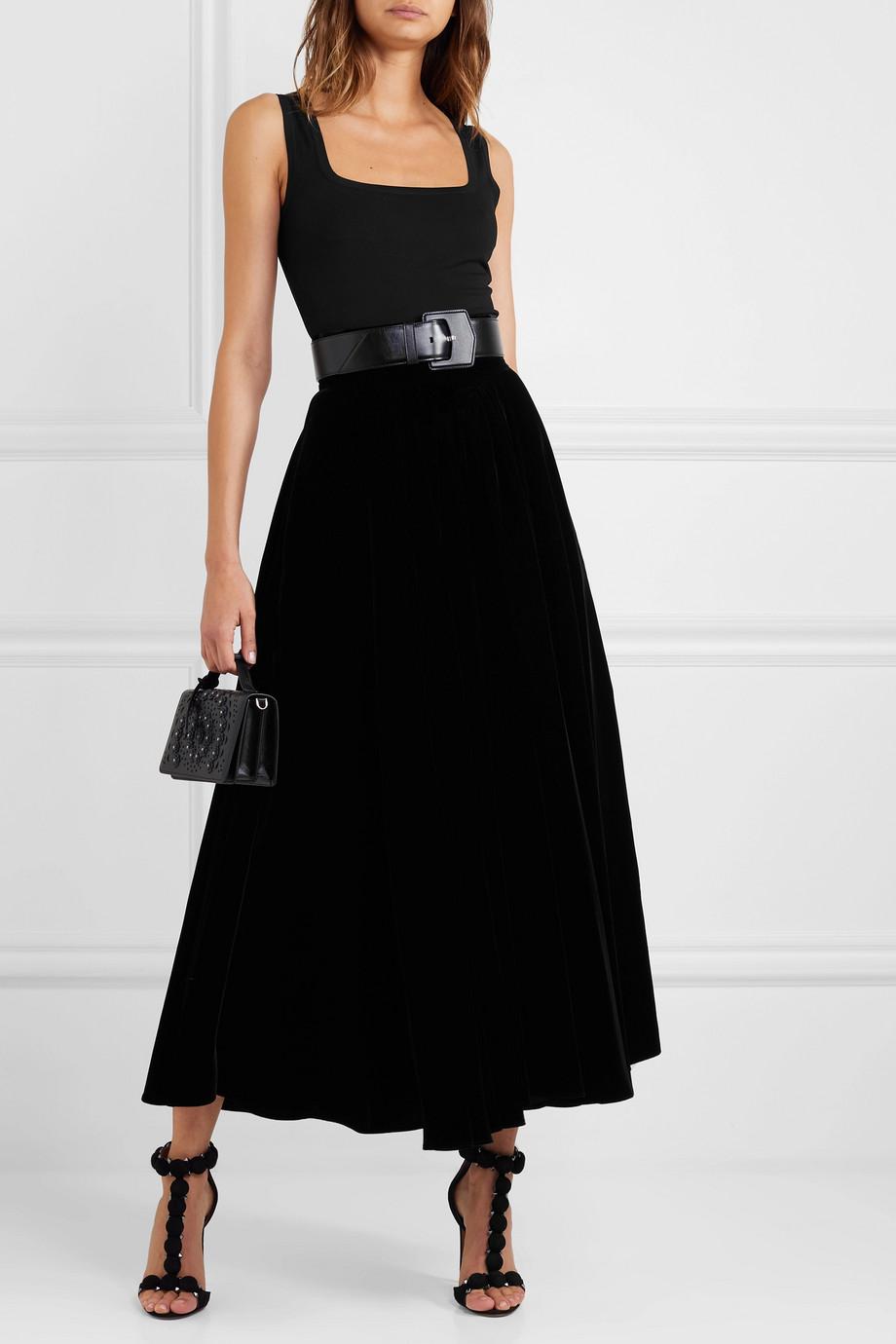 Alaïa Pleated velvet maxi skirt
