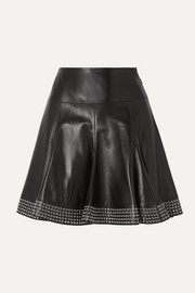 Alaïa Eyelet-embellished pleated leather mini skirt