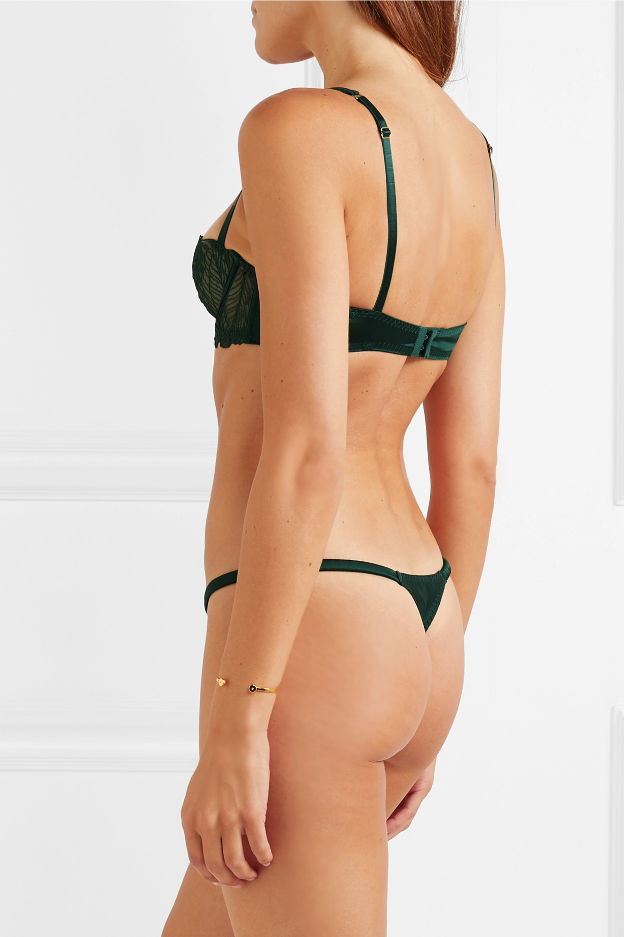 Coco de Mer Frieda satin-trimmed stretch-Leavers lace thong