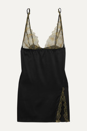Coco de Mer Danae silk-blend satin and embroidered tulle chemise