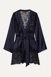 Coco de Mer Athene lace and stretch-satin robe
