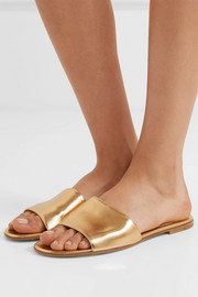 Metallic leather slides