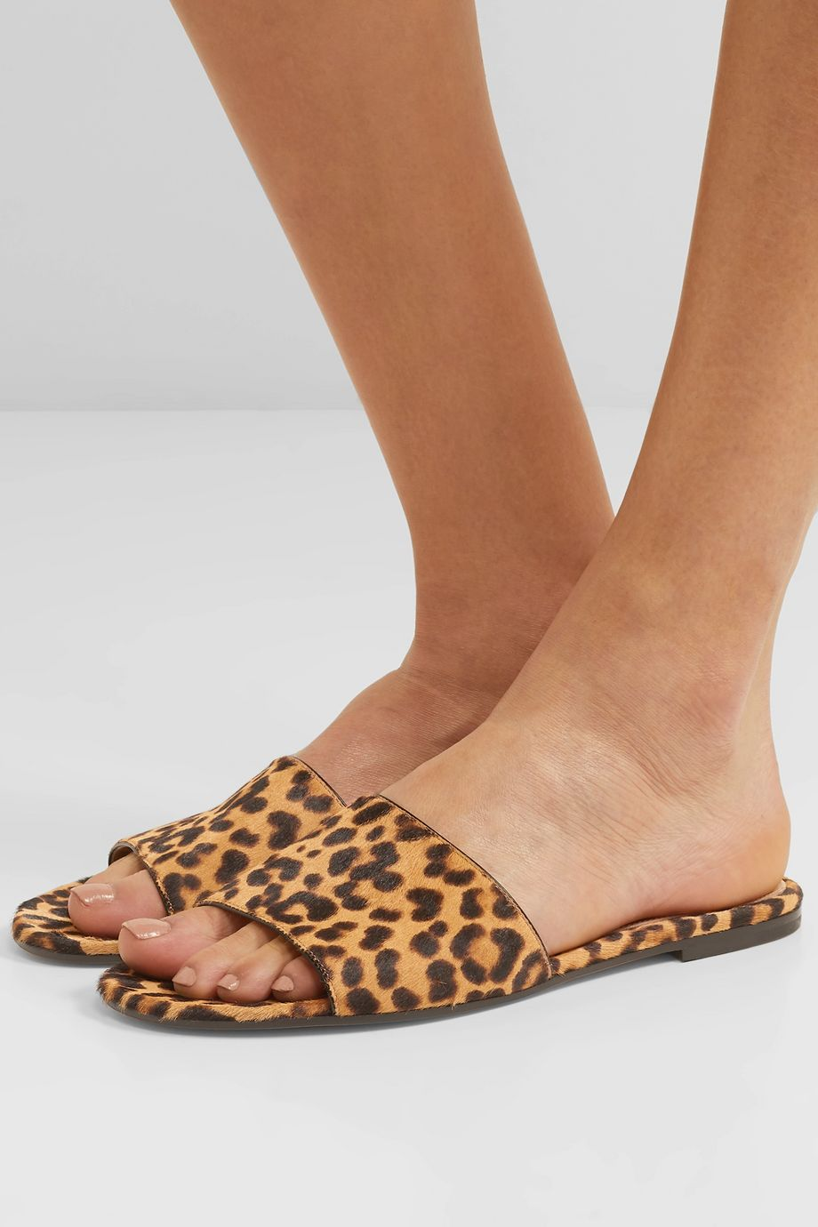 Gianvito Rossi Leopard-print calf hair slides