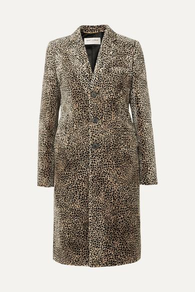 "Saint Laurent ""chesterfield"" Coat With Mini Leopard Print In Beige"