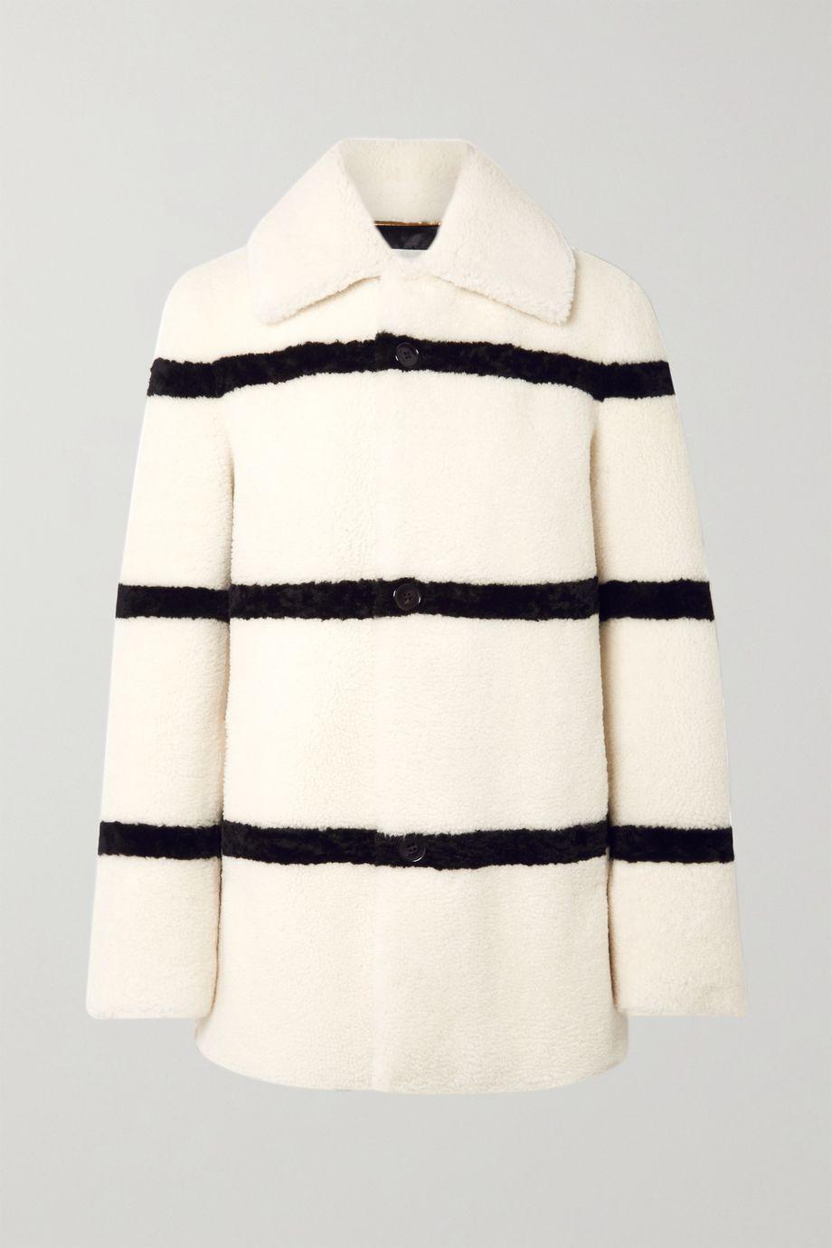 SAINT LAURENT Manteau en peau lainée à rayures
