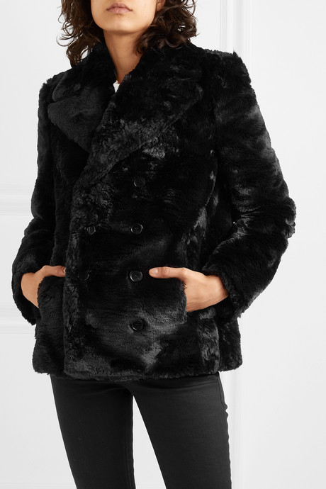 Double-breasted faux fur jacket